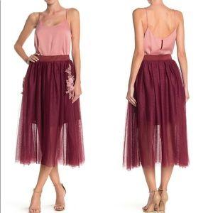 Aratta Silent Journey Floral Tulle Midi Skirt